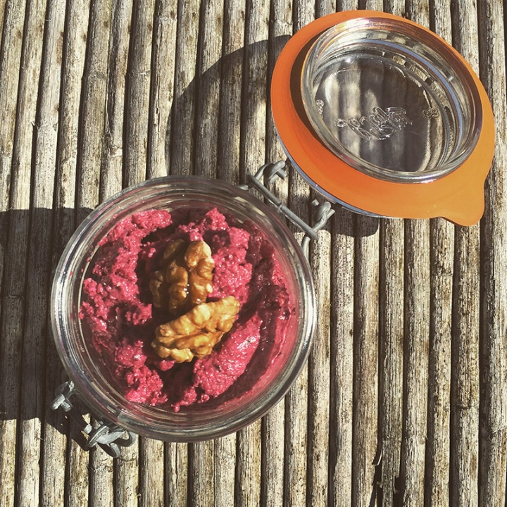 Beet feta walnut dip