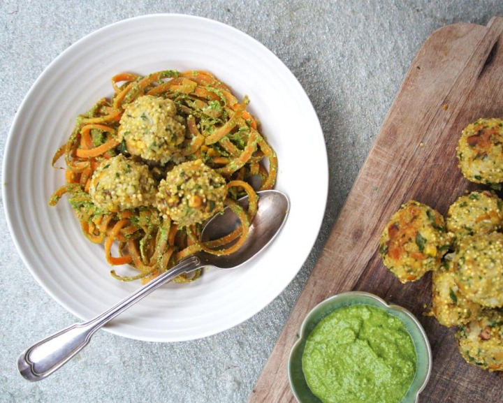 Carrot noodles with quinoa 'meat'balls